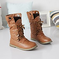 Women's Boots Winter Cowboy / Western Boots Leatherette Outdoor Wedge Heel Lace-up Black / Brown / Yellow Walking