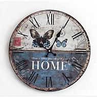 Módní a moderní / Země / Neformální Rodina Nástěnné hodiny,Kulatý Dřevo 35*35*3 Indoor / Outdoor / Vevnitř / Outdoor Hodiny