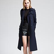 BORME Women's Shirt Collar Long Sleeve Trench Coat Dark Blue-Y051