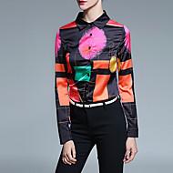 Polyester Gul / Lilla Medium Langermet,Skjortekrage Skjorte Trykt mønster Alle sesonger Vintage Plusstørrelser / Fritid/hverdag Dame
