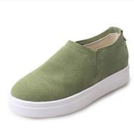 נשים-נעליים ללא שרוכים-פליז-קריפרס-שחור / ירוק / חאקי-שטח / קז'ואל / ספורט-פלטפורמה