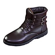 Herre-PU-Flat hæl-Komfort Combatstøvler-Flate sko-Fritid-Svart Brun Nøgen
