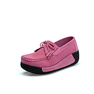 Women's Flats  Platform Suede Dress / Casual Platform Slip-on Black / Blue / Pink / Red / Gray