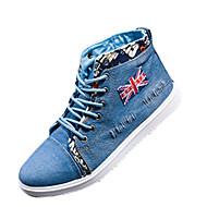 Herren-Sneaker-Lässig-Stoff-Flacher Absatz-Komfort-Blau Königsblau