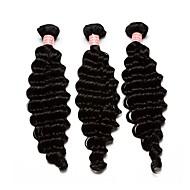 人間の髪編む モンゴリアンヘア ウェーブ 12ヶ月 3個 ヘア織り