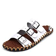 Herre-Lær-Flat hæl-Komfort-Tøfler og flip-flops-Fritid-