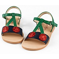 Girl's Sandals Summer Leather Casual Flat Heel Applique Green Walking