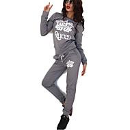 Women's Plus Size / Sports Active All Seasons Set PantPrint Round Neck Long Sleeve Black / Gray Polyester Medium