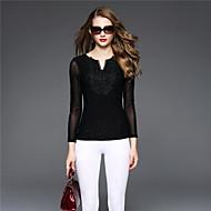 BOMOVO® Damen V-Ausschnitt Lange Ärmel T-Shirt Schwarz-B16QAF3