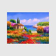 מצויר ביד L ו-scape פרחוני/בוטני נוף אבסטרקט ציורי שמן,מודרני פסטורלי סגנון ארופאי פנל אחד בד ציור שמן צבוע-Hang For קישוט הבית