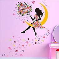 Moon Girl Wall Stickers Romantic Living Room Bedroom Background Wall Stickers Decorative Glass