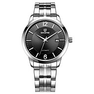 SKONE Automatic Mechanical Watches Men Luxury Brand Silver Steel Band Business Dress Watch