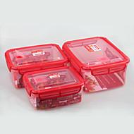 סט במיקרוגל של מיכל מזון 3pcs מנעול חותם פלסטיק