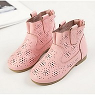 Girl's Boots Spring / Fall Fashion Boots Leather Casual Flat Heel Hollow-out Black / Pink / White Walking