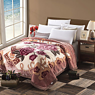 Velocino de Coral Multi Cores,Estampado Floral / Botânico 100% Poliéster cobertores W180 x L200cm  W200 x L230cm