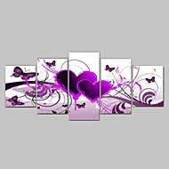 tuval üzerine 5pcs el-boyalı kırmızı sıcak sevgi kelebek çiçek manzara yağlıboya tablolar / hayır çerçeve set