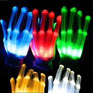 תאורת 1pair הובילה כפפות זוהר כפפות שלד צבעוניות עיטורי מסיבת ריקודי צעצועים זוהרים