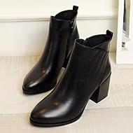 Naiset Bootsit Comfort Nahka Kevät Syksy Kausaliteetti Comfort Piikkikorko Musta 1-1,75in