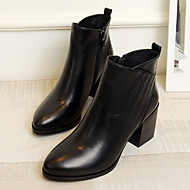 Damen Stiefel Komfort Leder Frühling Herbst Normal Komfort Stöckelabsatz Schwarz 2,5 - 4,5 cm