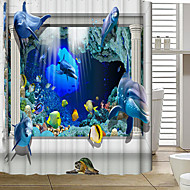 European Sell Like Hot Cakes Hi-Q Polyester Thickened Waterproof Mildew Shower Curtain 3D Underwater World
