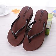 Для женщин Обувь ПВХ Лето Осень Удобная обувь Тапочки и Шлепанцы На плоской подошве Назначение Повседневные Белый Черный Коричневый