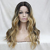 Quality Heat Resistant Dark Brown With Golden Blonde Three Tone Ombre Wavy Lace Front Long Wig