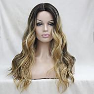 brun foncé résistant à la chaleur de qualité avec blond doré à trois tons ondulés ombre avant de dentelle longue perruque