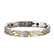 Men's Fashion  Individual Stainless Steel Silver And Gold Plated Circle Shape Chain Bracelets(1pc)