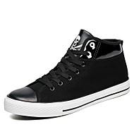 Herren-Sneaker-Outddor Lässig Sportlich-Stoff-Flacher Absatz-Komfort-Schwarz Grau