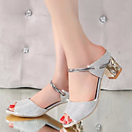 Women's Sandals Ankle Strap PU Summer Casual Party & Evening Ankle Strap Chunky Heel Silver Golden 1in-1 3/4in