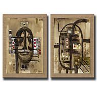 Peint à la main Abstrait / Fantaisie Peintures à l'huile,Modern Deux Panneaux Toile Peinture à l'huile Hang-peint For Décoration