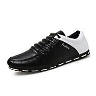 Herre-PU-Flat hæl-Mokkasin-一脚蹬鞋、懒人鞋-Fritid-Svart Brun Svart og Hvit