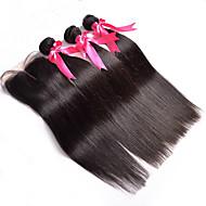 Trama do cabelo com Encerramento Cabelo Indiano Retas 4 Peças tece cabelo
