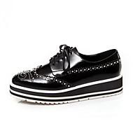 Γυναικεία παπούτσια-Oxfords-Καθημερινά-Χοντρό Τακούνι-Ανατομικό-Δέρμα-Μαύρο