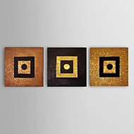 Stretched Frame Hand-Painted Oil Painting Thick Texture Golden Wall Art Modern Home Office Decor 3 Panel Ready to Hang