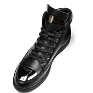 Men's Boots Fall Bootie / Round Toe Leather Casual Flat Heel Lace-up Black Others