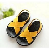 샌들-캐쥬얼-남아 신발-샌들-PU-플랫-옐로 / 화이트