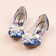 Girls Cinderella Glass Slipper Princess Crystal Shoes Soft Bottom Dress shoes Princess Performance shoes with Elastic