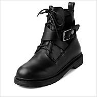 Støvler-Læder-Combat-støvler-Dame-Sort-Hverdag-Lav hæl