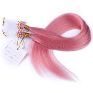 κορυφαία ποιότητα συνδέσμους δαχτυλίδι ροζ χρώμα μικρο βρόχο παρθένο ίσια ανθρώπινης τρίχας Περού μαλλιά μικρο βρόχο μαλλιά επεκτάσεις