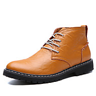 Masculino-Botas-Botas Cano Curto / Botas da Moda-Rasteiro-Preto / Azul / Marrom-Couro-Casual