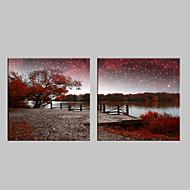 E-HOME® Stretched LED Canvas Print Art The River Scenery Flash Effect LED Flashing Optical Fiber Print Set of 2