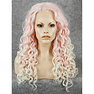 IMSTYLE 24Long Curly Pink White Mix Synthetic Lace Front Wig Dyeable