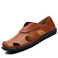 Herre-Lær-Flat hæl-Komfort-一脚蹬鞋、懒人鞋-Fritid-Svart Brun Gul