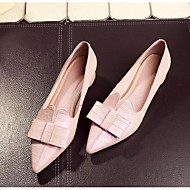 Women's Flats Spring / Summer / Fall Flats Cowhide Outdoor Chunky Heel Bowknot Blue / Pink Others