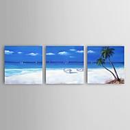 Ručně malované Abstraktní / Krajina / Zátiší / Abstraktní krajinka olejomalby,Moderní / Středomoří / evropský styl Tři panely Plátno