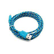 2 pakcs 2m 6ft Micro-USB opladen en data sync-kabel kabel gevlochten stof geweven voor Samsung HTC Android-apparaten