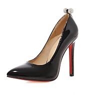 נשים-עקבים-סינטתי עור פטנט דמוי עור-חדשני בלרינה בייסיק נוחות-שחור ורוד אדום-חתונה משרד ועבודה שמלה יומיומי מסיבה וערב-עקב סטילטו