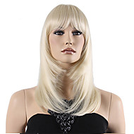 Top Grade Low Price Blonde Middle Long Straight With Full Bang Synthetic Wig Hot Sale.