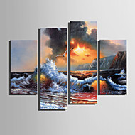 E-HOME® Stretched Canvas Art Sea Wave Decoration Painting  Set of 4